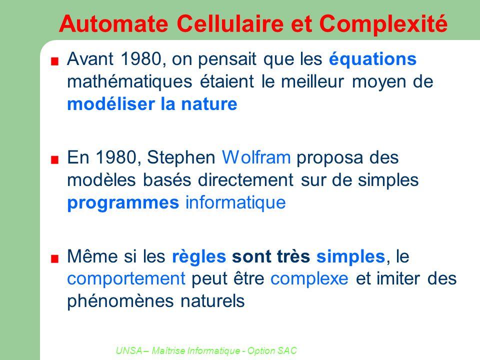 Automate Cellulaire et Complexité