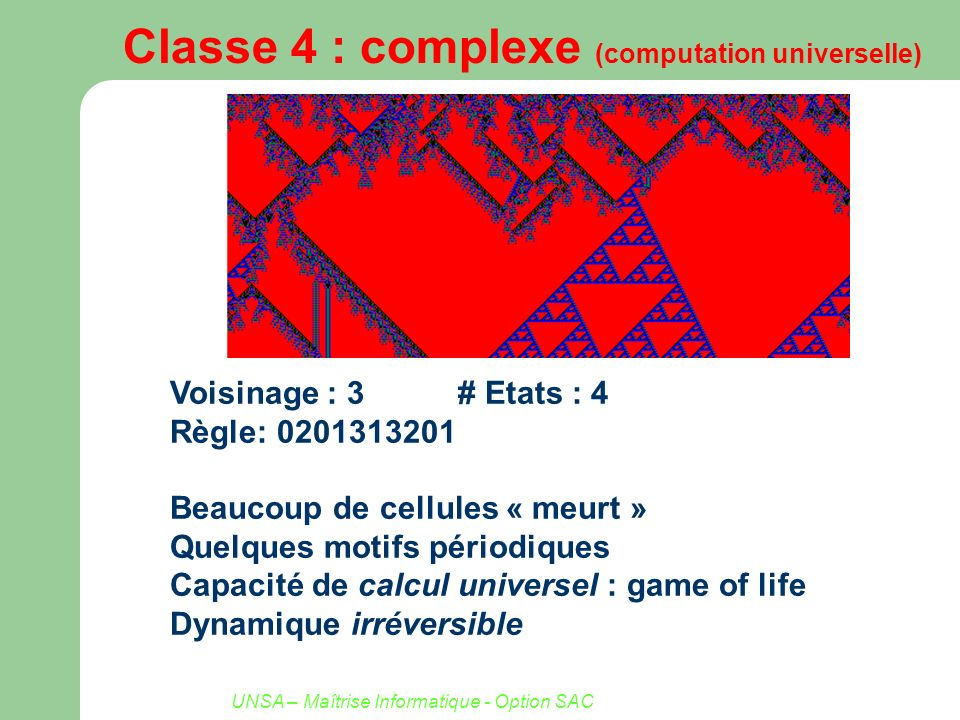 Classe 4 : complexe (computation universelle)