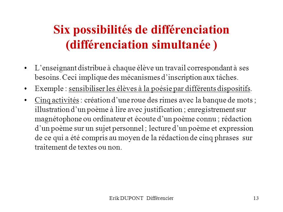 Six possibilités de différenciation (différenciation simultanée )