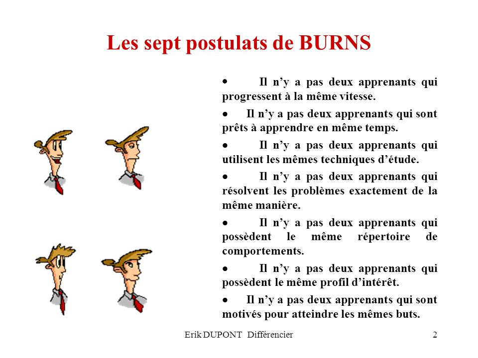 Les sept postulats de BURNS
