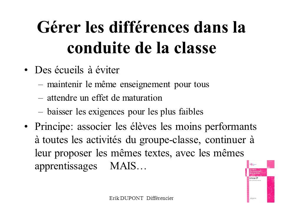 Gérer les différences dans la conduite de la classe