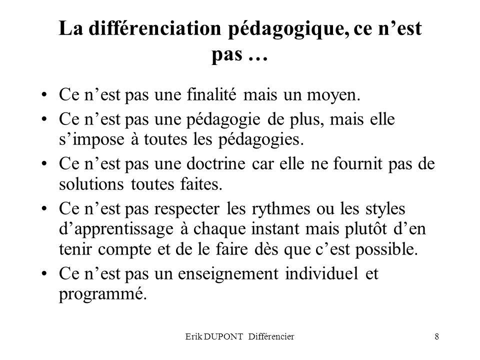 La différenciation pédagogique, ce n'est pas …