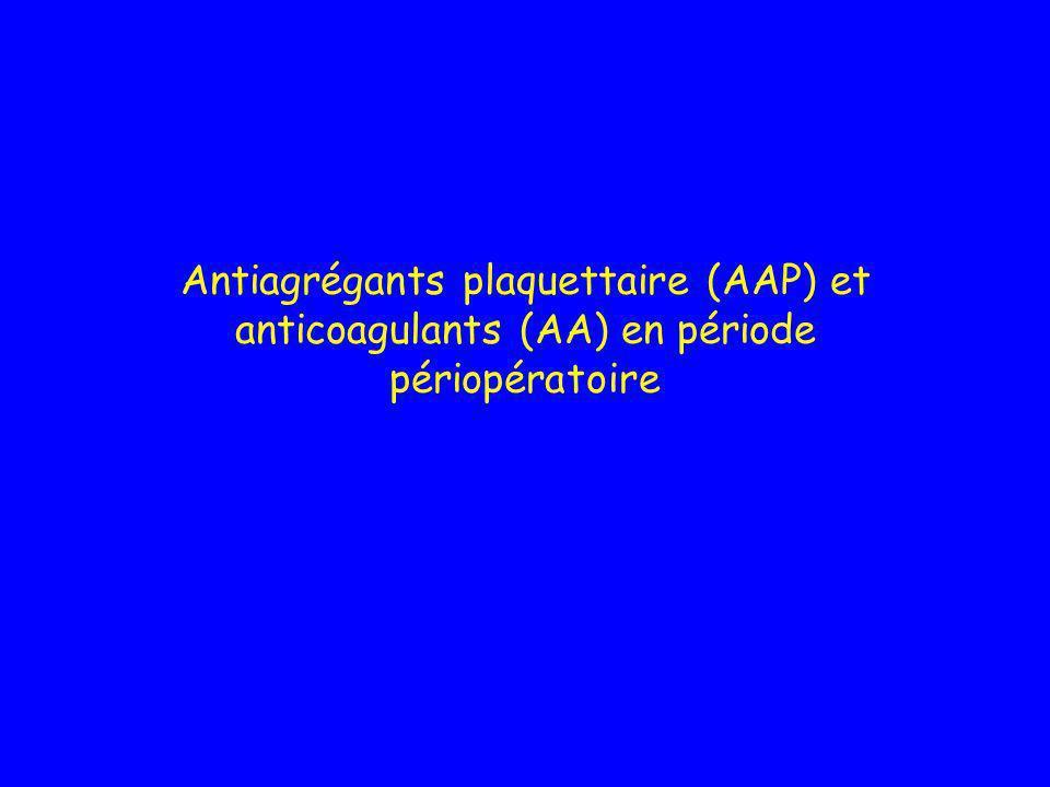 Antiagrégants plaquettaire (AAP) et anticoagulants (AA) en période périopératoire