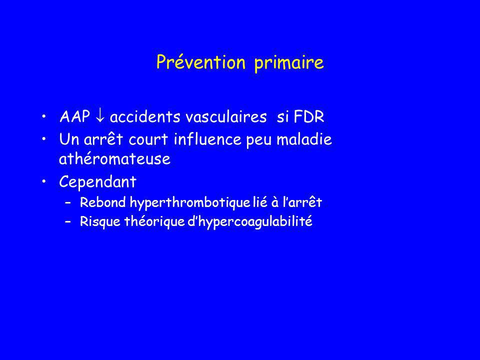 Prévention primaire AAP  accidents vasculaires si FDR