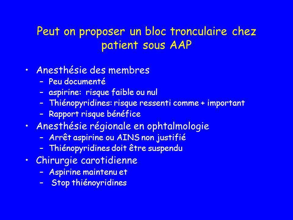Peut on proposer un bloc tronculaire chez patient sous AAP
