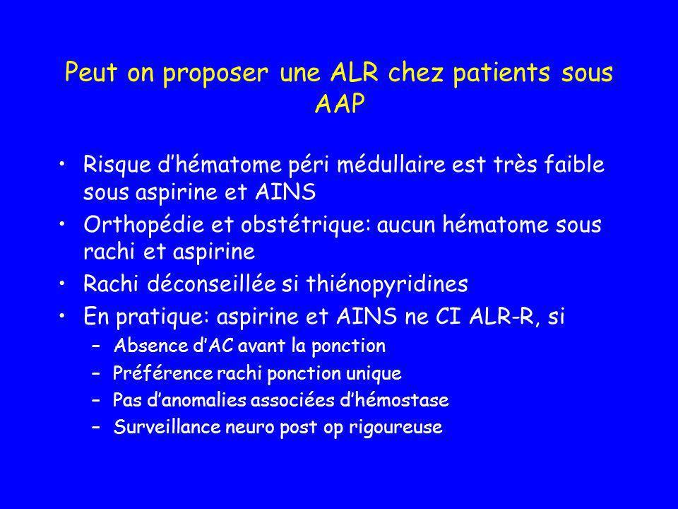 Peut on proposer une ALR chez patients sous AAP