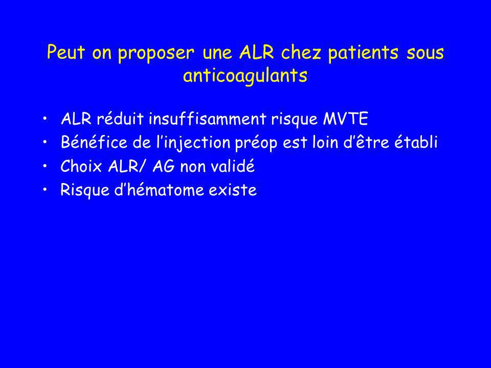 Peut on proposer une ALR chez patients sous anticoagulants