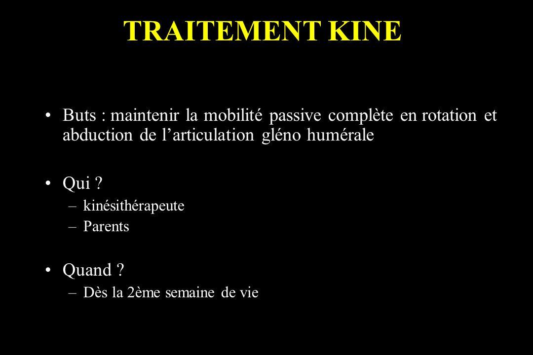 TRAITEMENT KINE Buts : maintenir la mobilité passive complète en rotation et abduction de l'articulation gléno humérale.