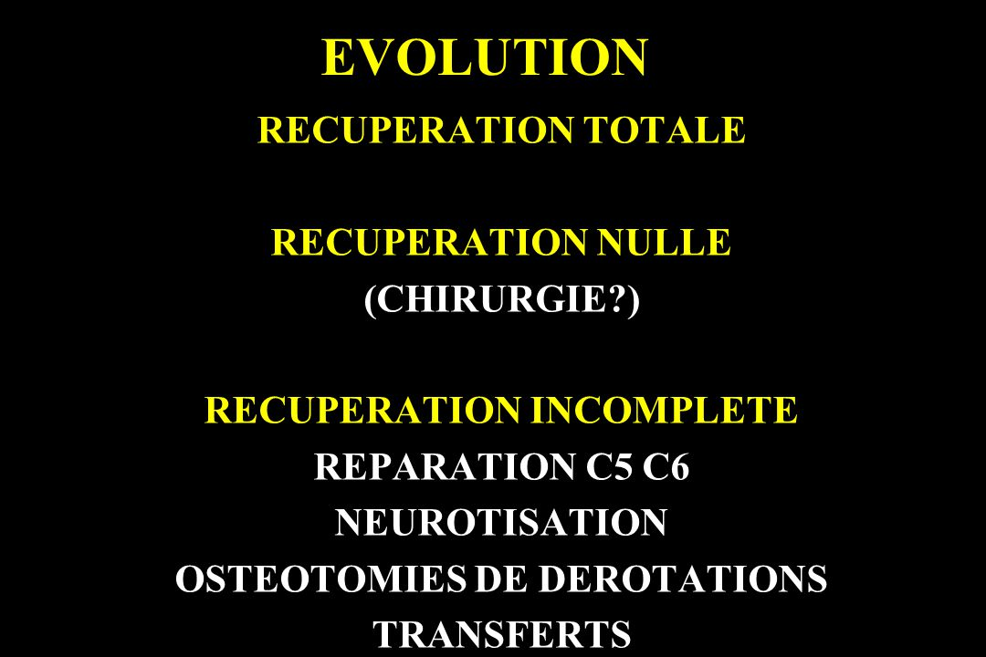 RECUPERATION INCOMPLETE OSTEOTOMIES DE DEROTATIONS