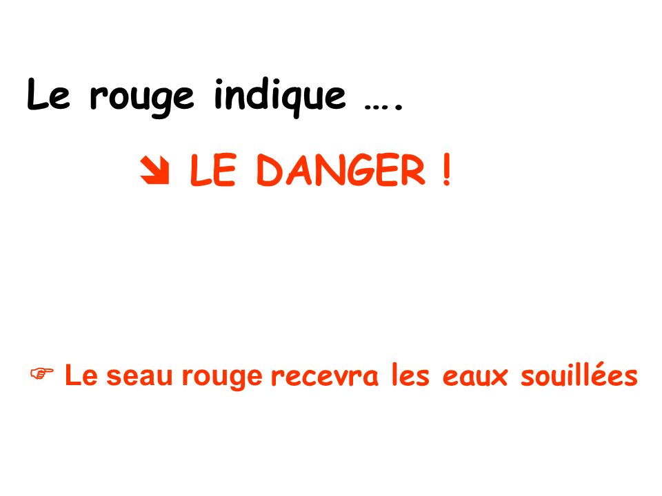 Le rouge indique ….  LE DANGER !
