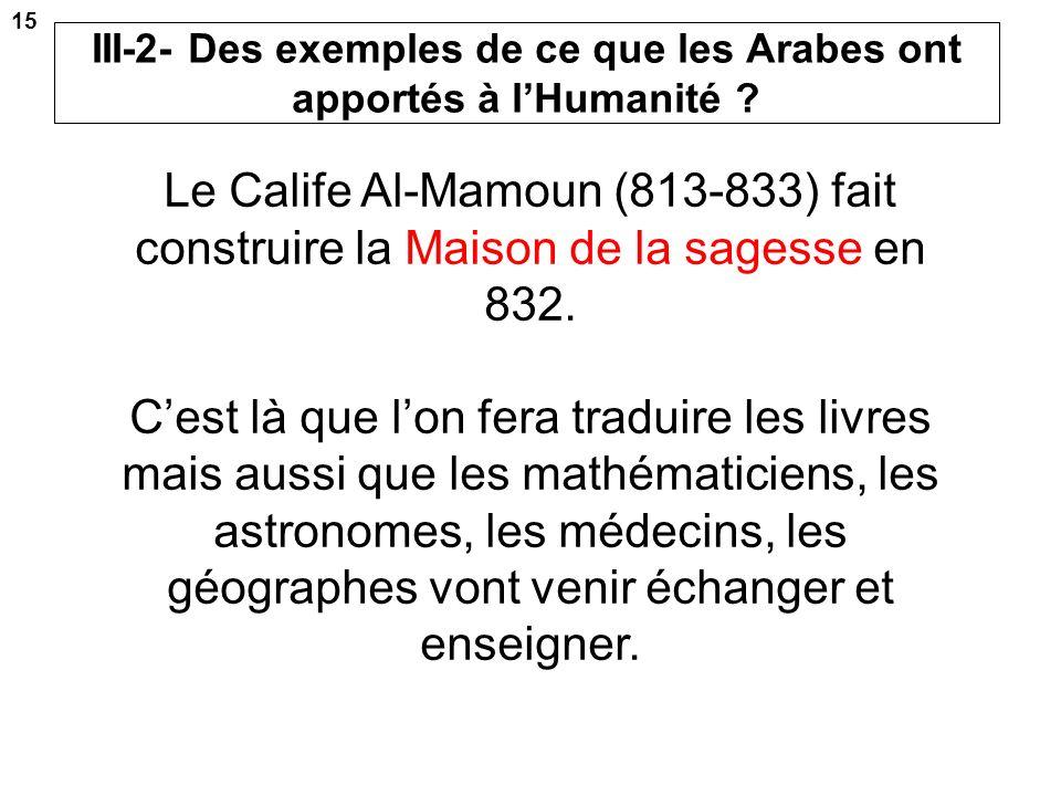 III-2- Des exemples de ce que les Arabes ont apportés à l'Humanité