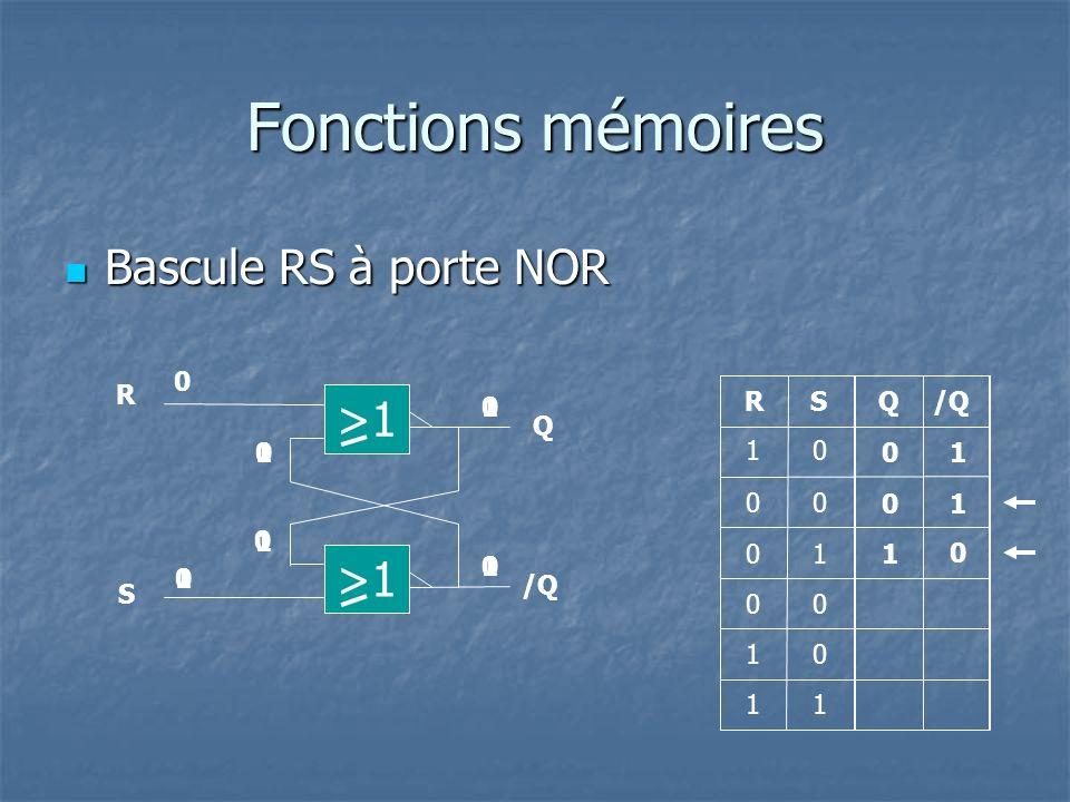 Fonctions mémoires Bascule RS à porte NOR >1 >1 R 1 R S Q /Q Q 1