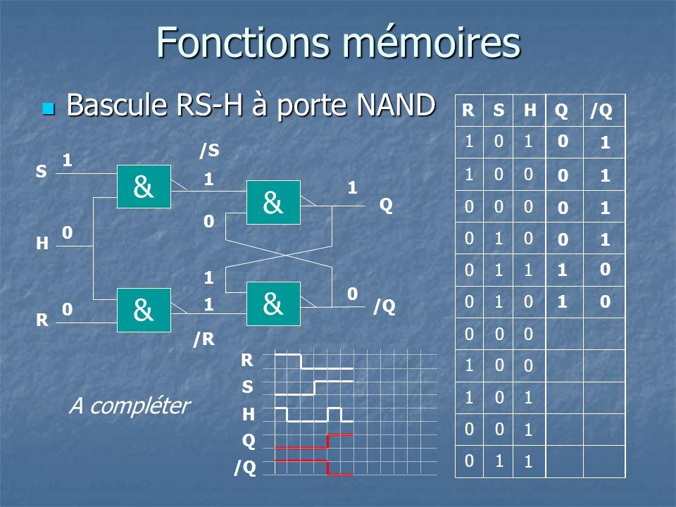 Fonctions mémoires Bascule RS-H à porte NAND & & & & A compléter R S H