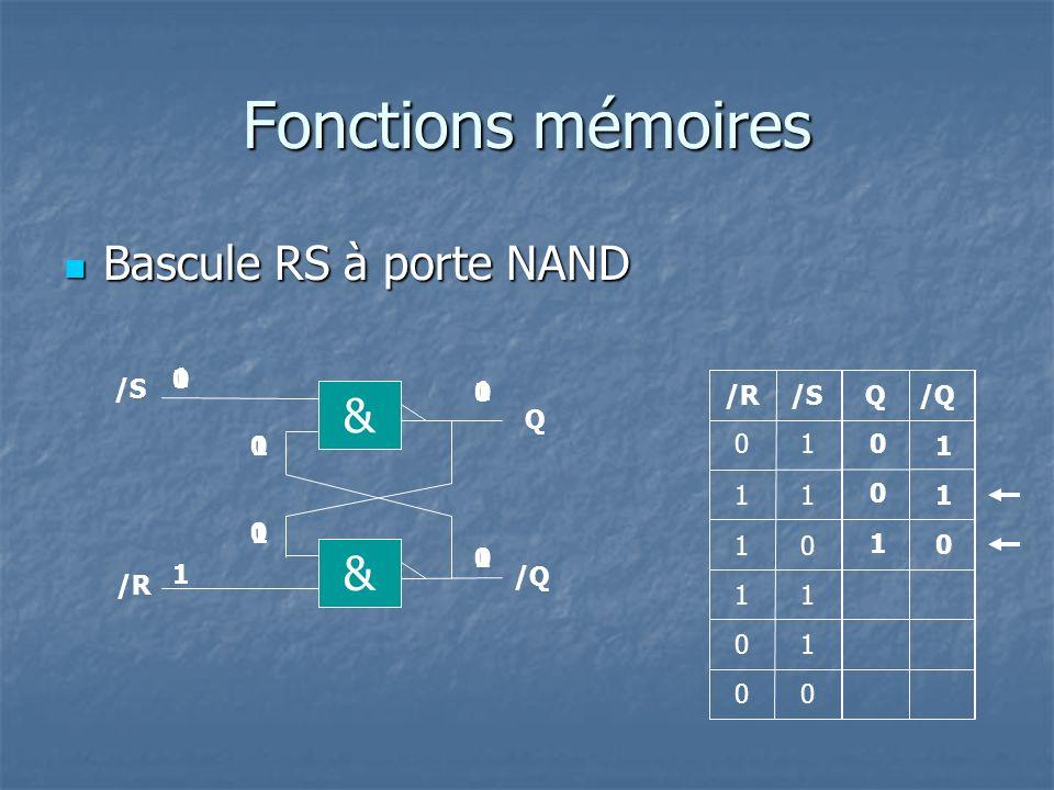 Fonctions mémoires Bascule RS à porte NAND & & 1 /S 1 /R /S Q /Q Q 1 1