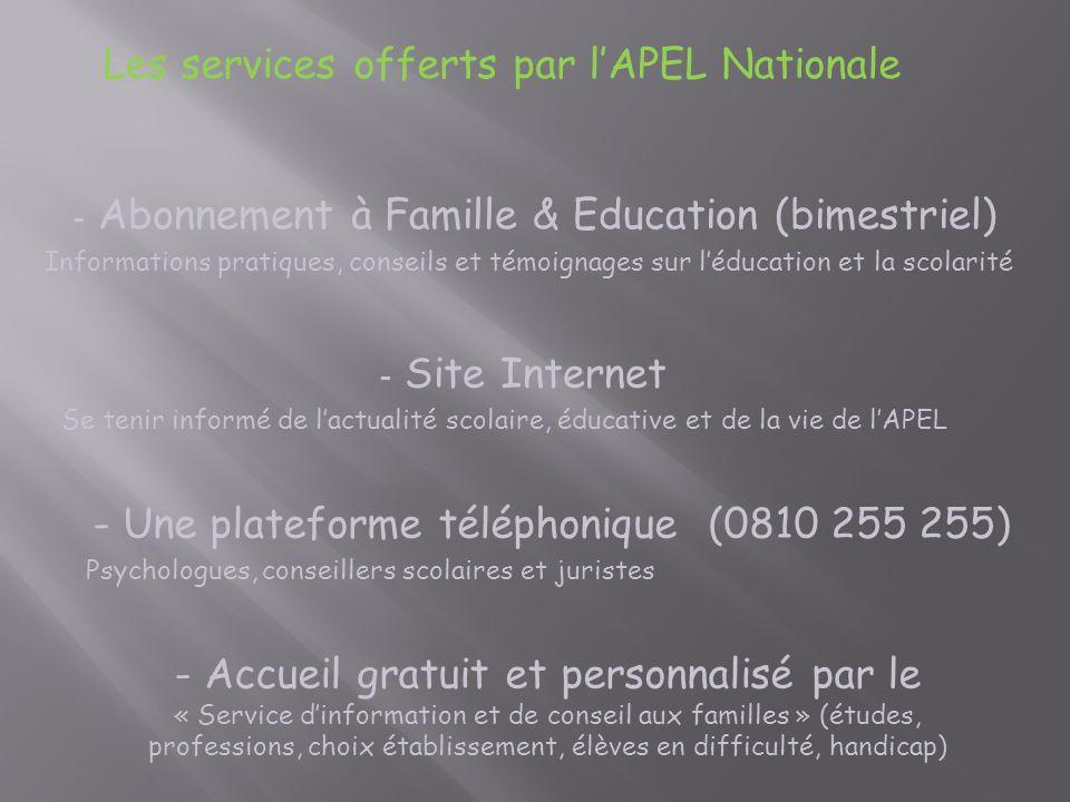 Les services offerts par l'APEL Nationale