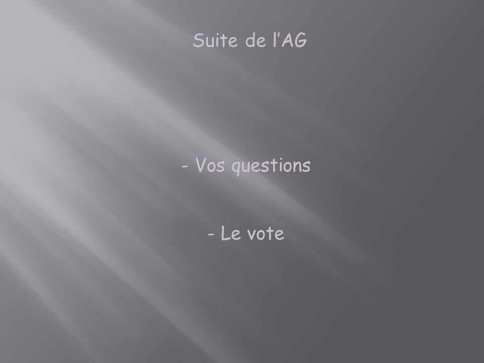 Suite de l'AG Vos questions Le vote