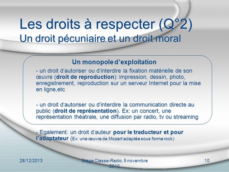 Les droits à respecter (Q°2) Un droit pécuniaire et un droit moral