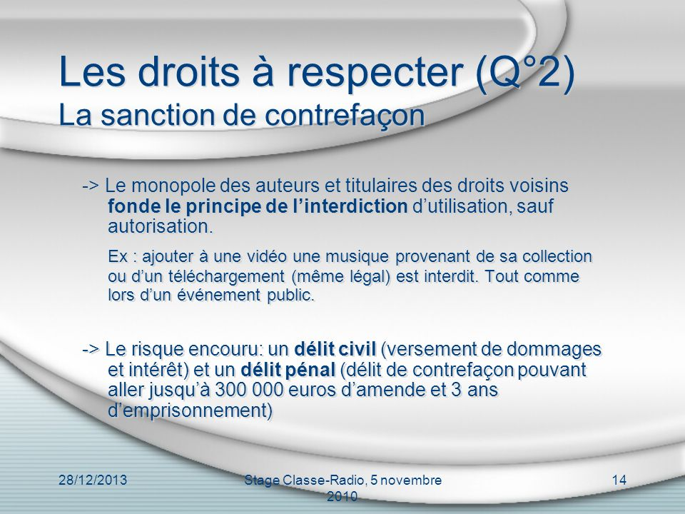 Les droits à respecter (Q°2) La sanction de contrefaçon