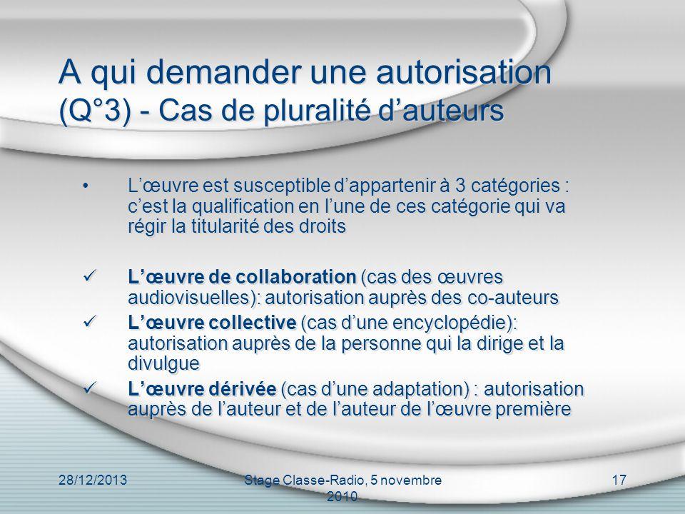 A qui demander une autorisation (Q°3) - Cas de pluralité d'auteurs
