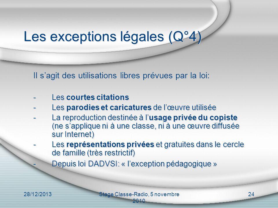 Les exceptions légales (Q°4)