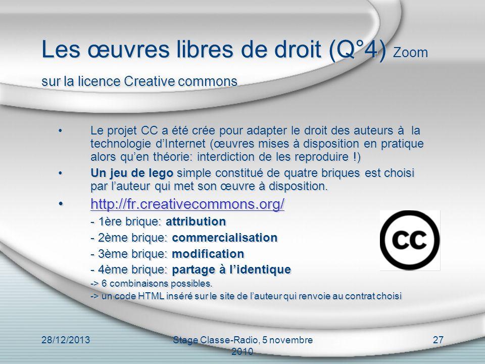 Les œuvres libres de droit (Q°4) Zoom sur la licence Creative commons