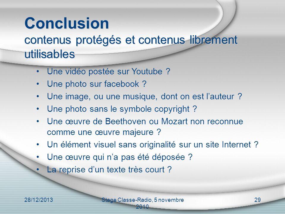 Conclusion contenus protégés et contenus librement utilisables