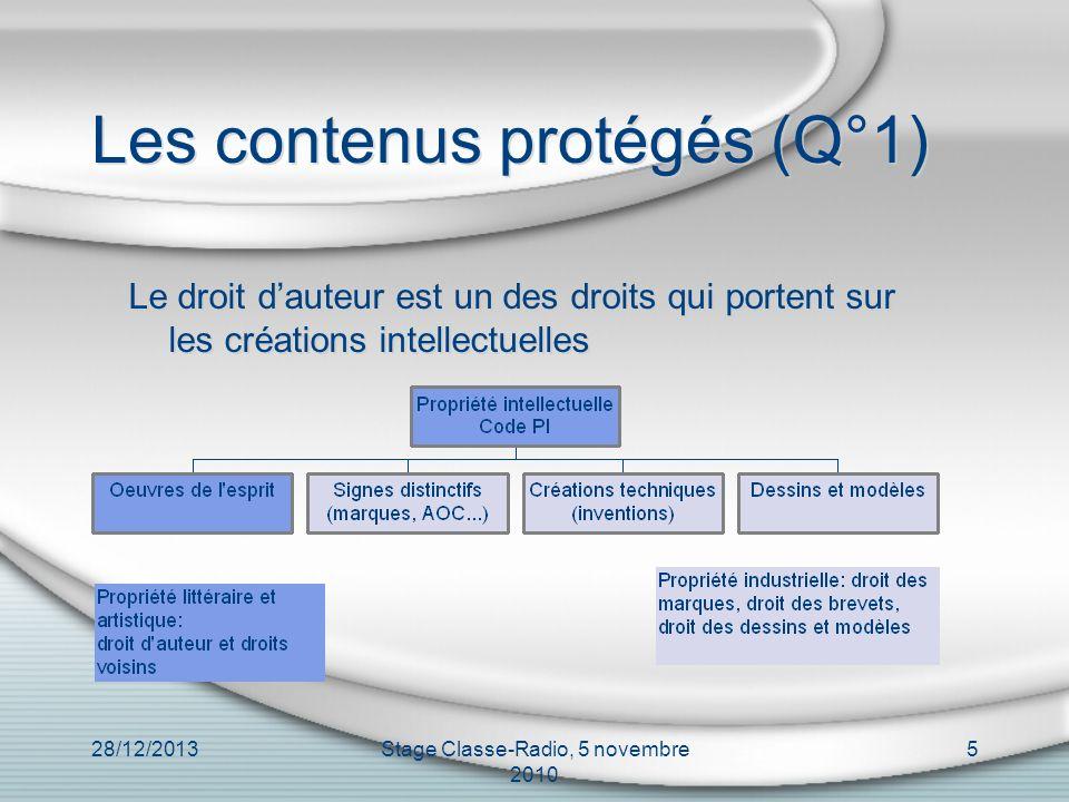 Les contenus protégés (Q°1)