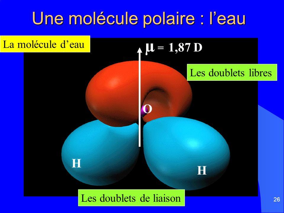 Une molécule polaire : l'eau