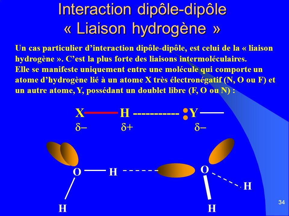 Interaction dipôle-dipôle « Liaison hydrogène »