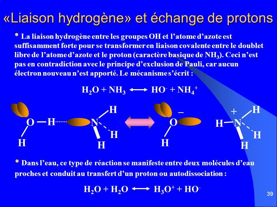 «Liaison hydrogène» et échange de protons