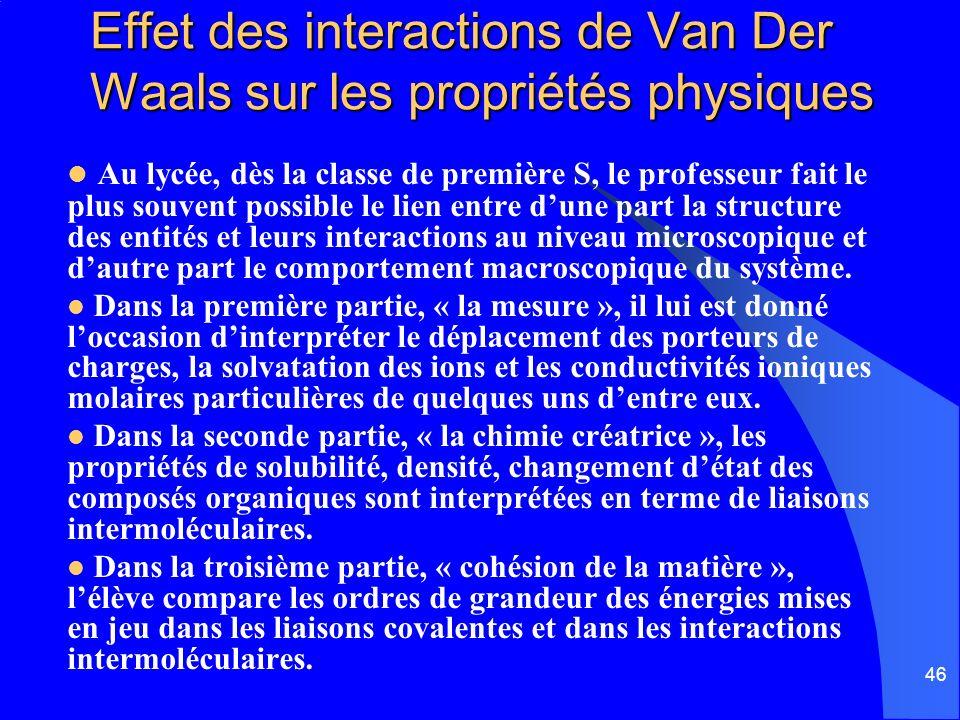 Effet des interactions de Van Der Waals sur les propriétés physiques