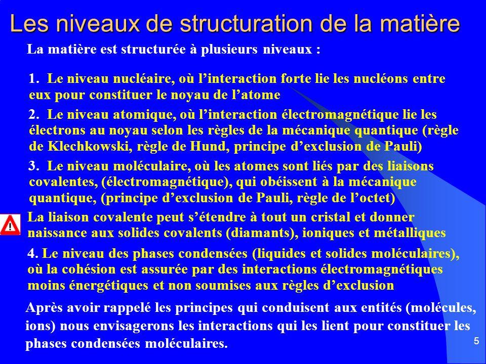 Les niveaux de structuration de la matière