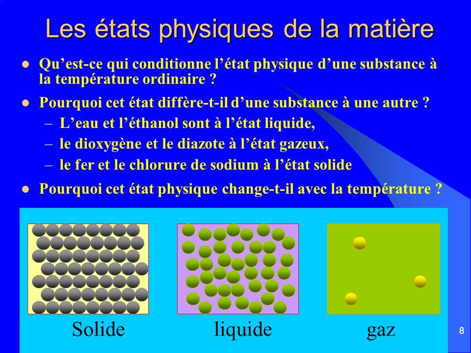 Les états physiques de la matière