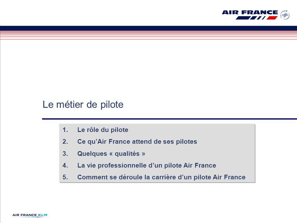 Le métier de pilote Le rôle du pilote