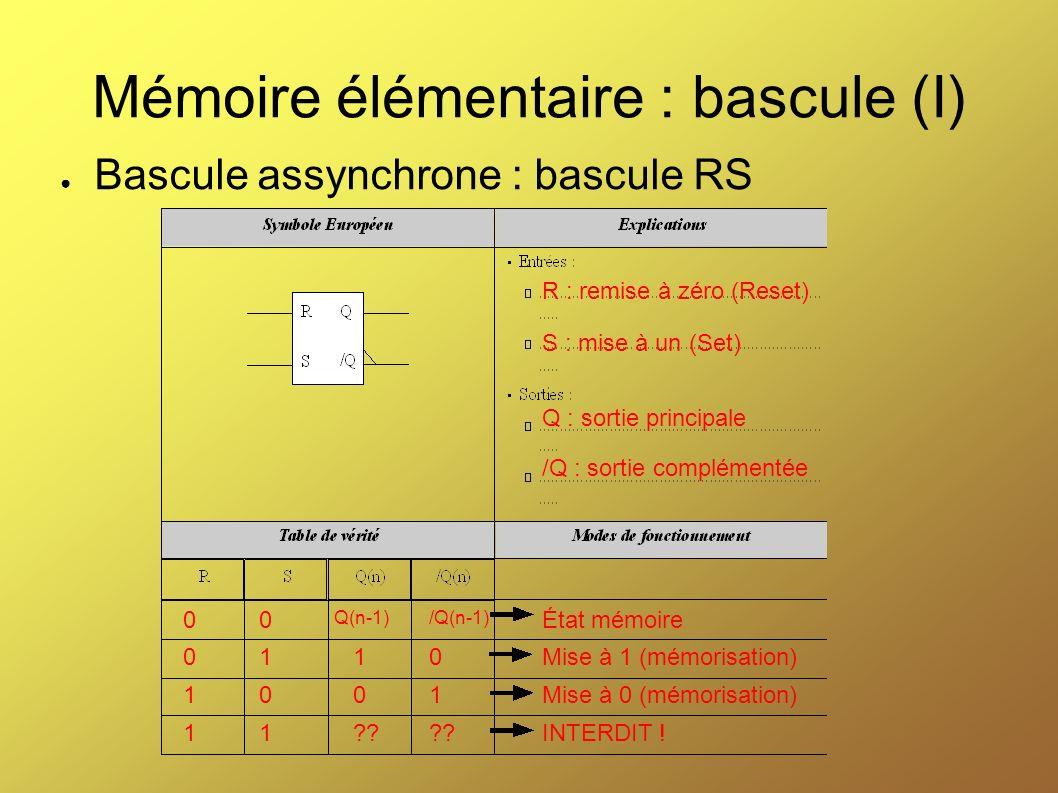 Mémoire élémentaire : bascule (I)