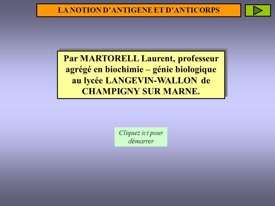 LA NOTION D'ANTIGENE ET D'ANTICORPS