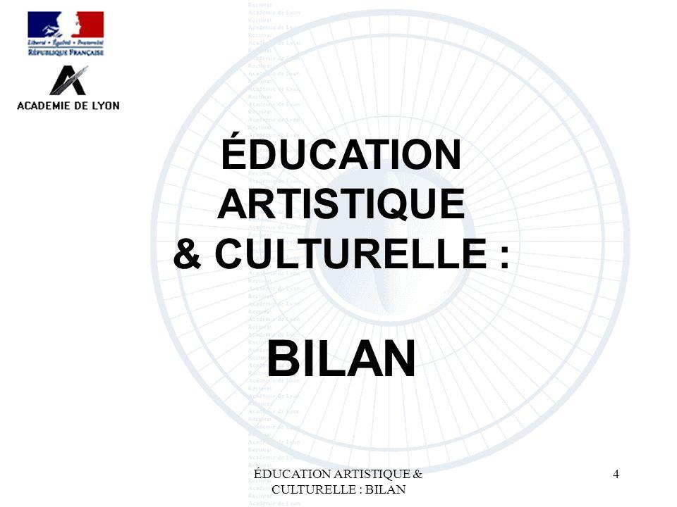 ÉDUCATION ARTISTIQUE & CULTURELLE : BILAN