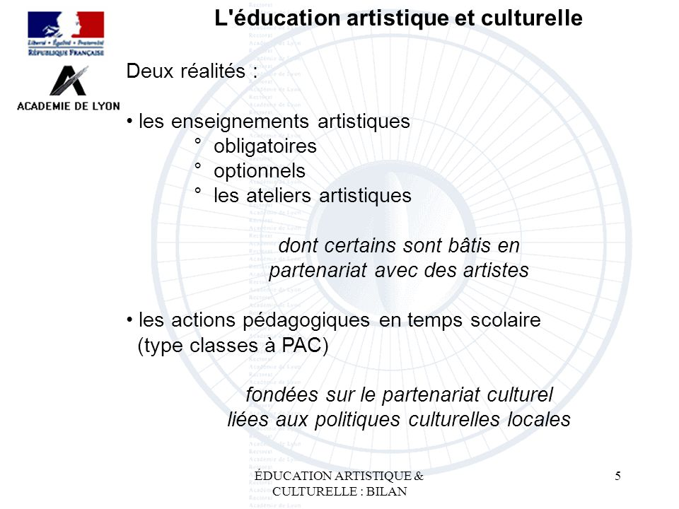 L éducation artistique et culturelle