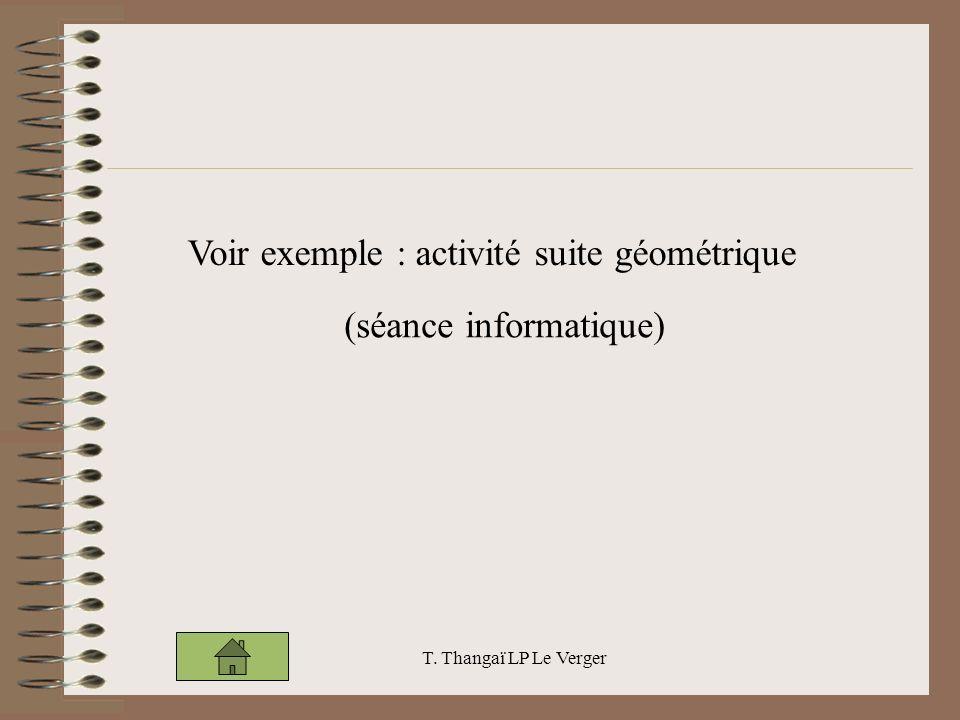 Voir exemple : activité suite géométrique