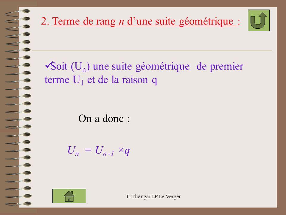 2. Terme de rang n d'une suite géométrique :