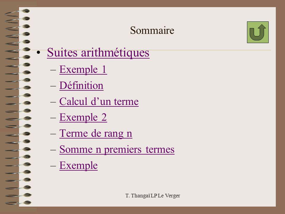 Suites arithmétiques Sommaire Exemple 1 Définition Calcul d'un terme