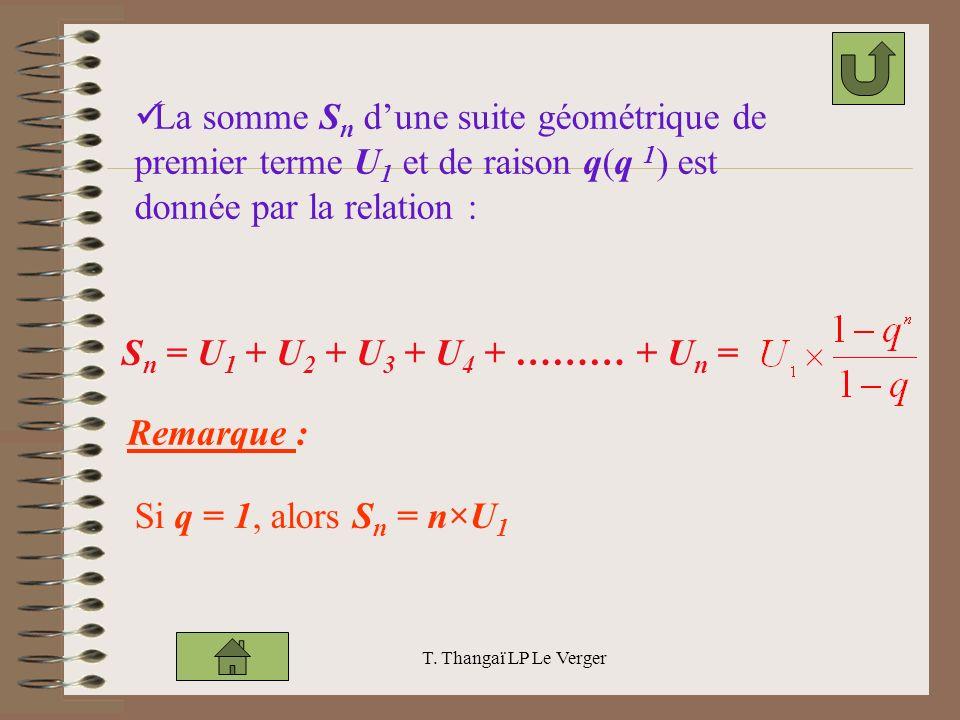 La somme Sn d'une suite géométrique de premier terme U1 et de raison q(q 1) est donnée par la relation :