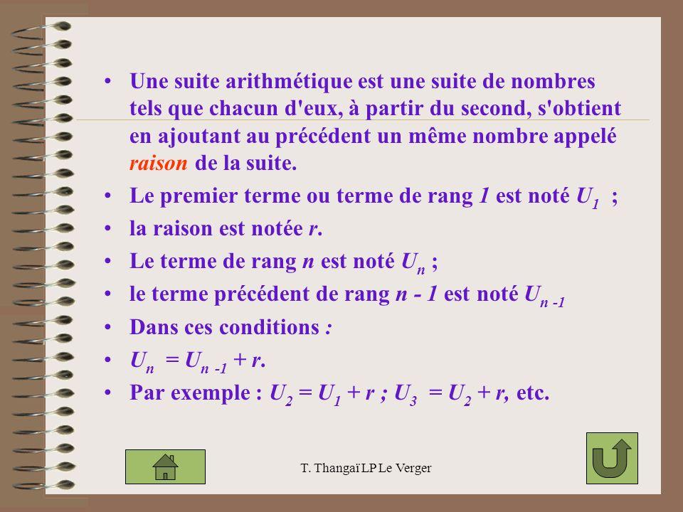 Une suite arithmétique est une suite de nombres tels que chacun d eux, à partir du second, s obtient en ajoutant au précédent un même nombre appelé raison de la suite.