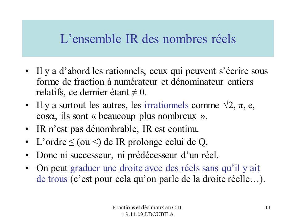 L'ensemble IR des nombres réels