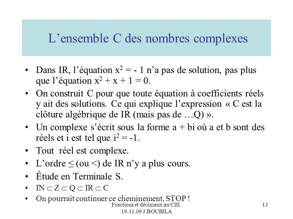 L'ensemble C des nombres complexes