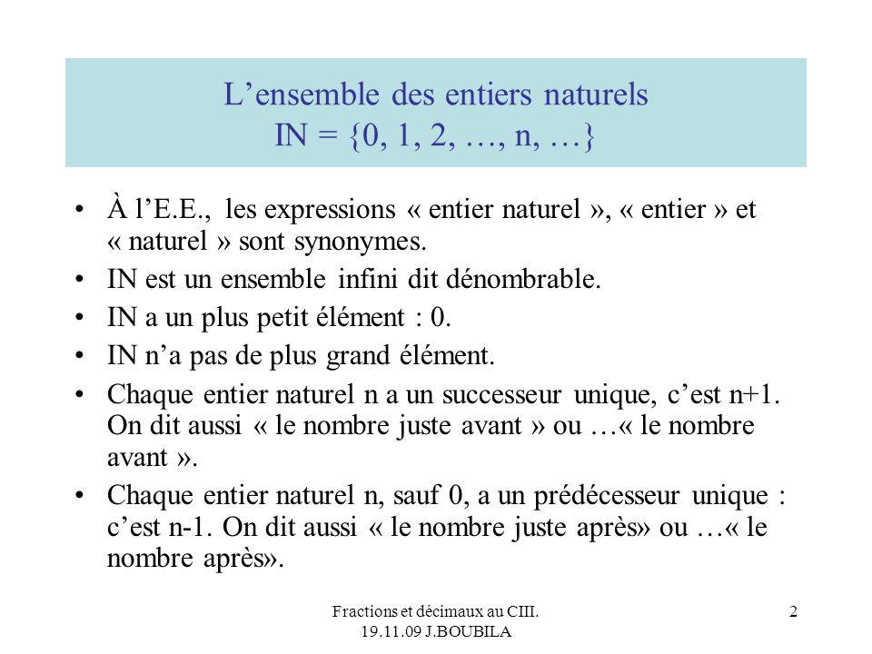 L'ensemble des entiers naturels IN = {0, 1, 2, …, n, …}