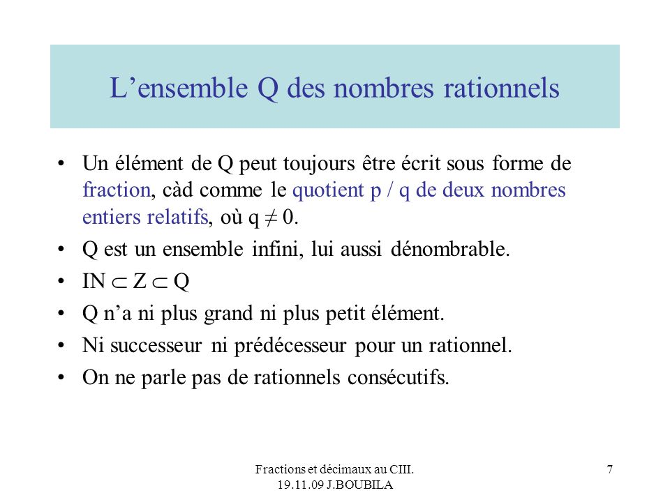 L'ensemble Q des nombres rationnels