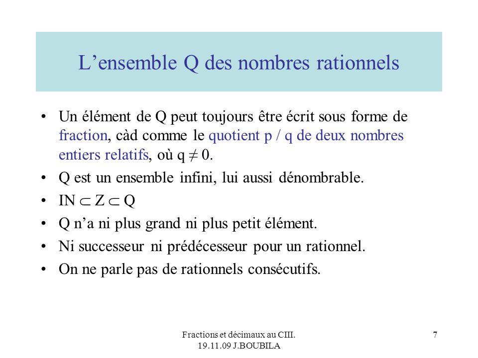 L'ensemble Q des nombres rationnels