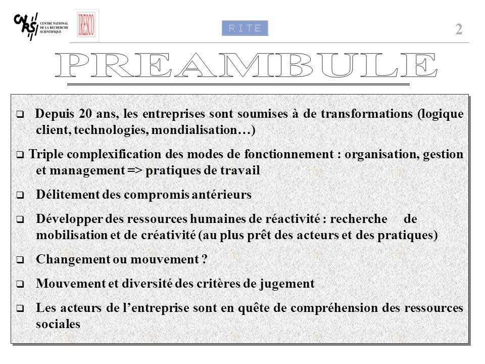 2 PREAMBULE. q Depuis 20 ans, les entreprises sont soumises à de transformations (logique client, technologies, mondialisation…)