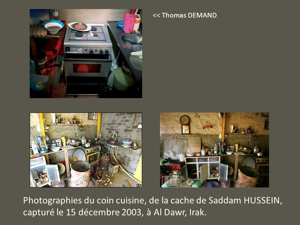 Photographies du coin cuisine, de la cache de Saddam HUSSEIN,